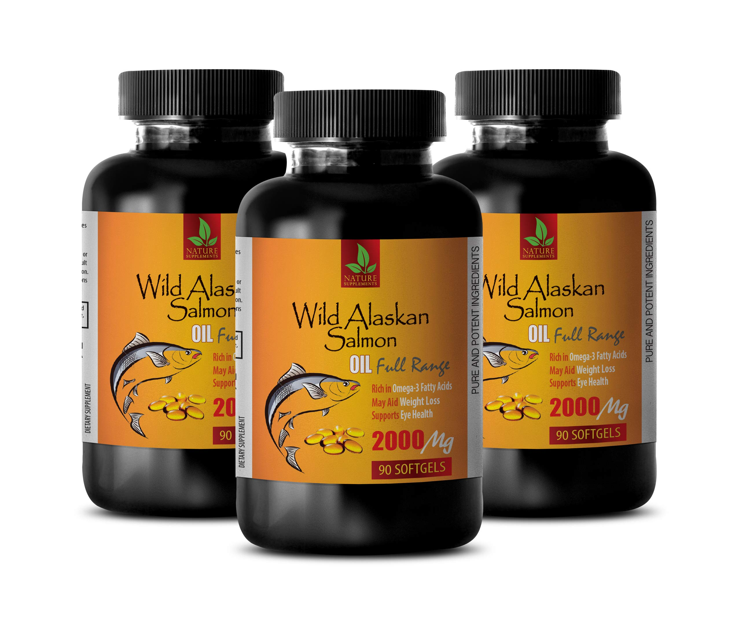 Brain Booster Vitamins - Wild Alaskan Salmon Oil 2000 mg - Rich in Omega 3 Fatty ACIDS - Omega 3 Fish Oil for Women - 3 Bottles 270 Softgels by NATURE SUPPLEMENTS