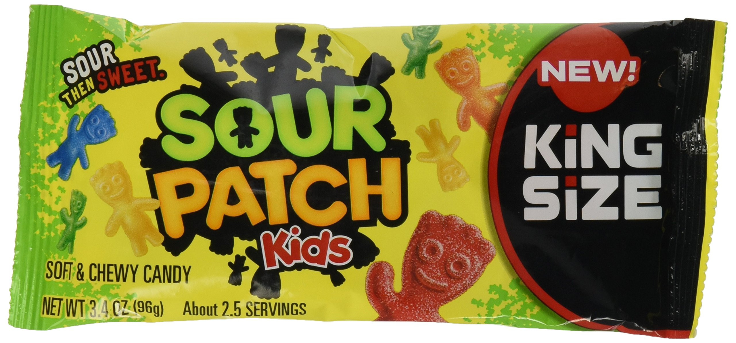 Sour Patch Kids Sweet and Sour Gummy Candy (Original King Size, 3.4 Ounce Bag, Pack of 18)