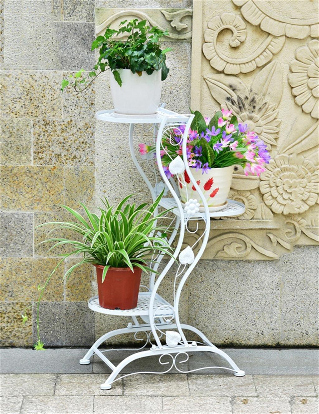 Europäischer kreativer dreistöckiger Eisen-Fußboden-Blumen-Topf-Regal, Zahnstangen, hängend Orchidee-Blumen-Topf-Halter für Innen-, Balkon ( farbe : Weiß )