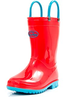 817d676fa07 Outee Toddler Kids Rain Boots Collection with Handles (Red Black Blue Purple