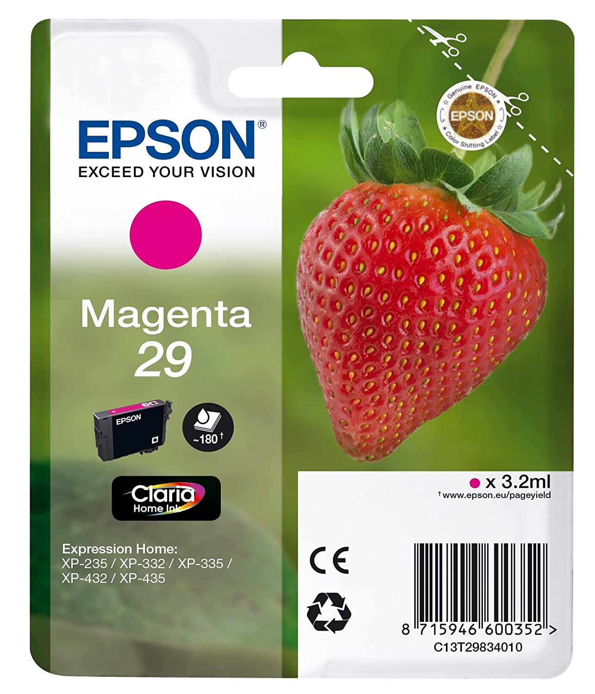 Epson Claria Home 29 - Cartucho de tinta estándar de 3.2 ml, paquete estándar, magenta, válido para los modelos Expression Home XP-235, XP-445 y ...