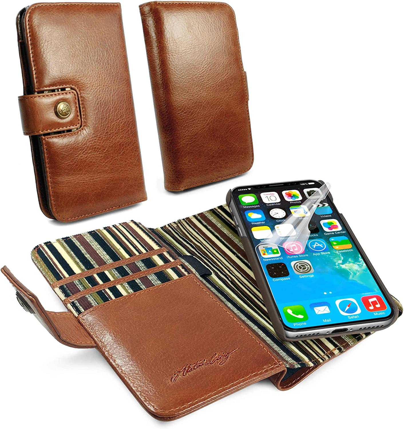Alston Craig C3_88 Gentlemen's Traditional Vintage Genuine Leather [with RFID Blocking] Magnetic Shell Folio Wallet Case Cover with Bill Fold for iPhone X/XS - Brown 812DYeTWjnLSL1500_