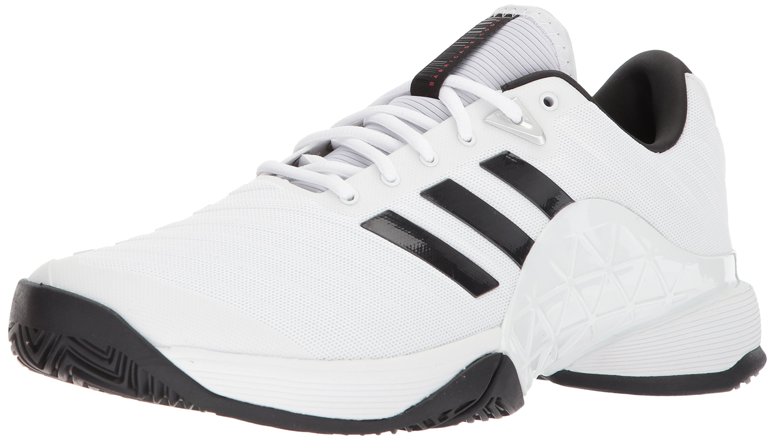adidas Performance Men's Barricade 2018 Tennis Shoe, White/Black/Matte Silver, 7 M US