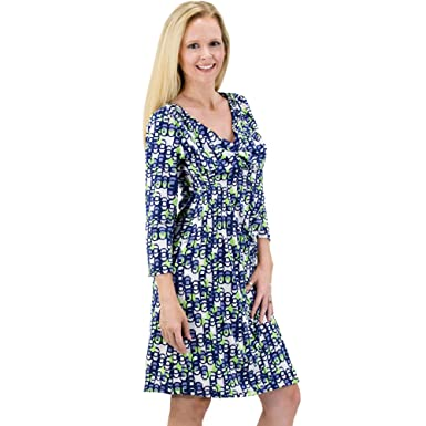 f7645dfe2b9 V Neck Tunic Faux wrap Dress 3/4 Sleeve Printed Jersey Summer Party Formal  Bold