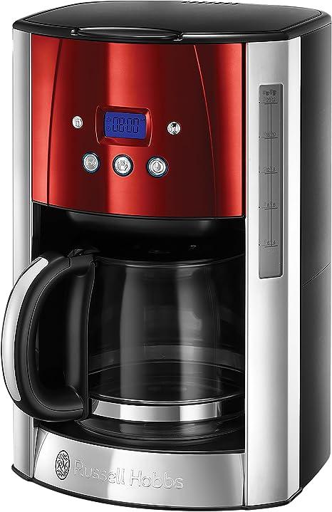Russell Hobbs Glas Kaffeemaschine Kaffee Automat Filter Tropfstop 975 Watt rot