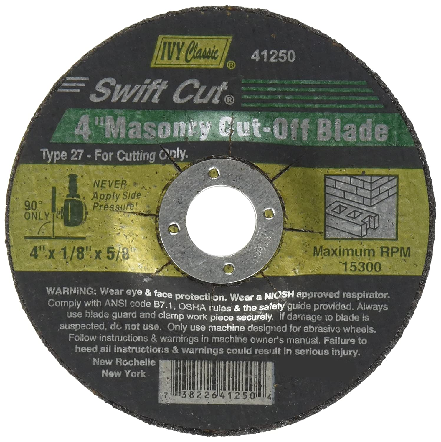 1-Piece Ivy Classic Industries IVY Classic 41250 Swift Cut 4-Inch x 1//8-Inch x 5//8-Inch Arbor Masonry Depressed Center Wheel for Grinders