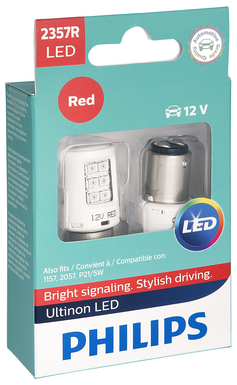 Philips 2357 Ultinon LED Bulb 2 Pack 2357RLED Red