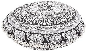 Groß Rund Mandala Boden Kissen, dekorativer Boho Outdoor Kissenbezug de Überwurf-Kopfkissen 81,3, Indien Pouf Polsterhocker, POM POM Roundie Kissen Kissenbezug