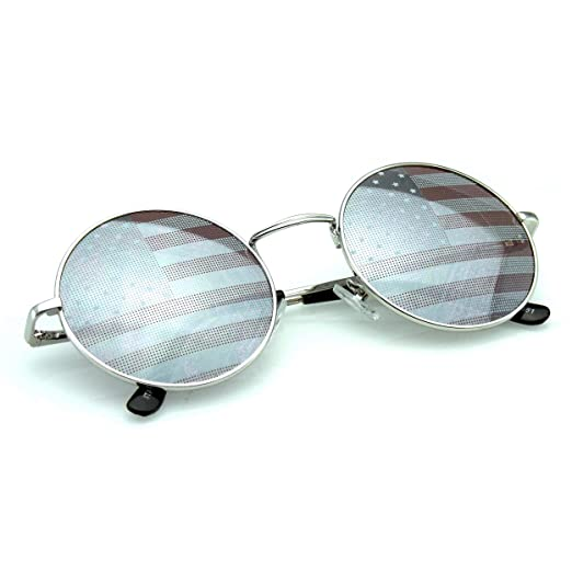6aaf73a297 Emblem Eyewear - John Lennon Inspired Sunglasses Round Hippie Shades Retro  Colored Lenses (American Flag