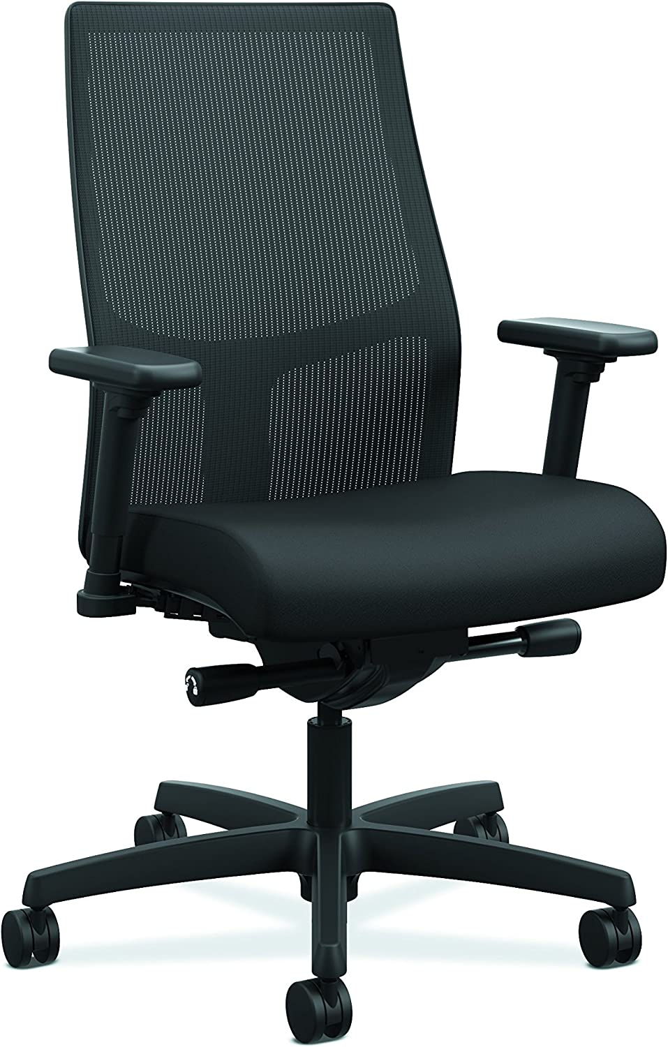 HON Ignition 2.0 Mid-Back - Black Mesh Computer Chair for Office Desk, Black Fabric