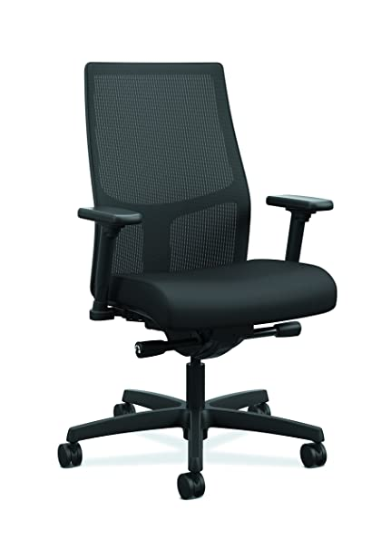 HON Ignition 2.0 Mid Back   Black Mesh Computer Chair For Office Desk, Black