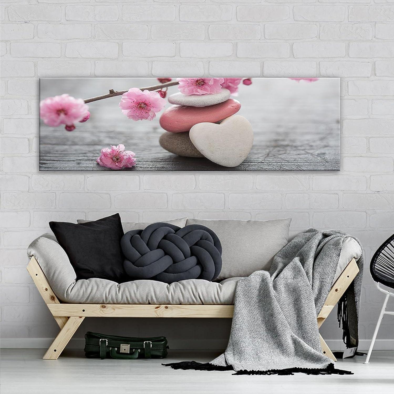 FORWALL - Cuadro de lienzo con impresión artística de corazón AMF11620_PP, lienzo, lienzo, piedra, corazón, flor, tabla, casa de madera, lona, rosa, gris y blanco., O3 (45cm. x 145cm.)