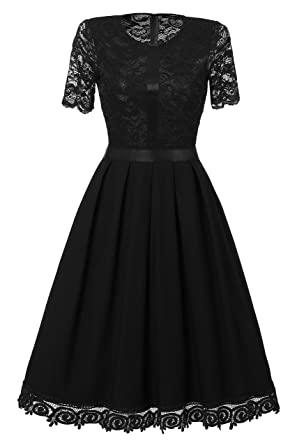 0da97590bb Women s Vintage 1950 Floral Embroidery Lace Half Sleeve Cocktail Swing Dress  (Small