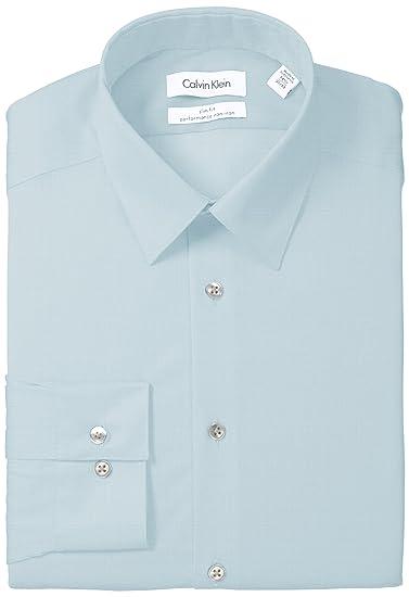 4557e93940b9 Calvin Klein Men s Dress Shirt Slim Fit Non Iron Herringbone at ...