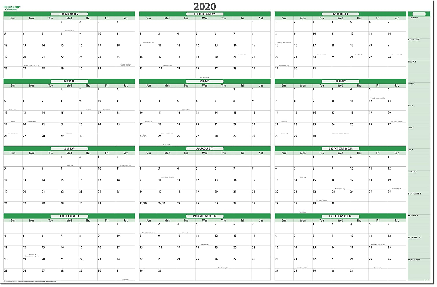 2019 Erasable Wall Calendar 32 tall X 48 wide. Best in it's Class - Non-Ghosting/Non-Staining