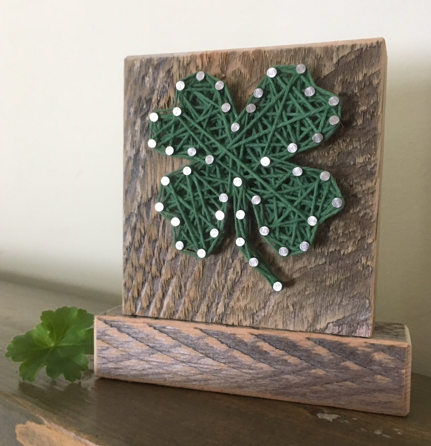 Lucky four leaf clover shamrock string art, by Nail it Art. St. Patrick's Day decoration, Father's Day gift. Good luck graduation gift, new job and for your favorite Irish friend. by Nail it Art (Image #1)