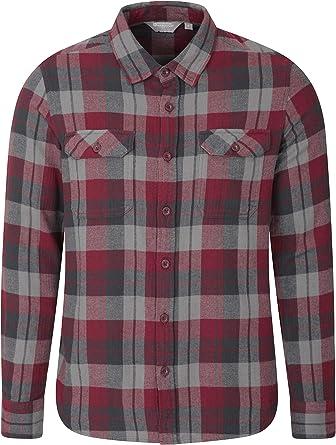 Men Casual Plaid Shirts 100/% Cotton Pocket Long Sleeve Shirts Soft Flannel Tops