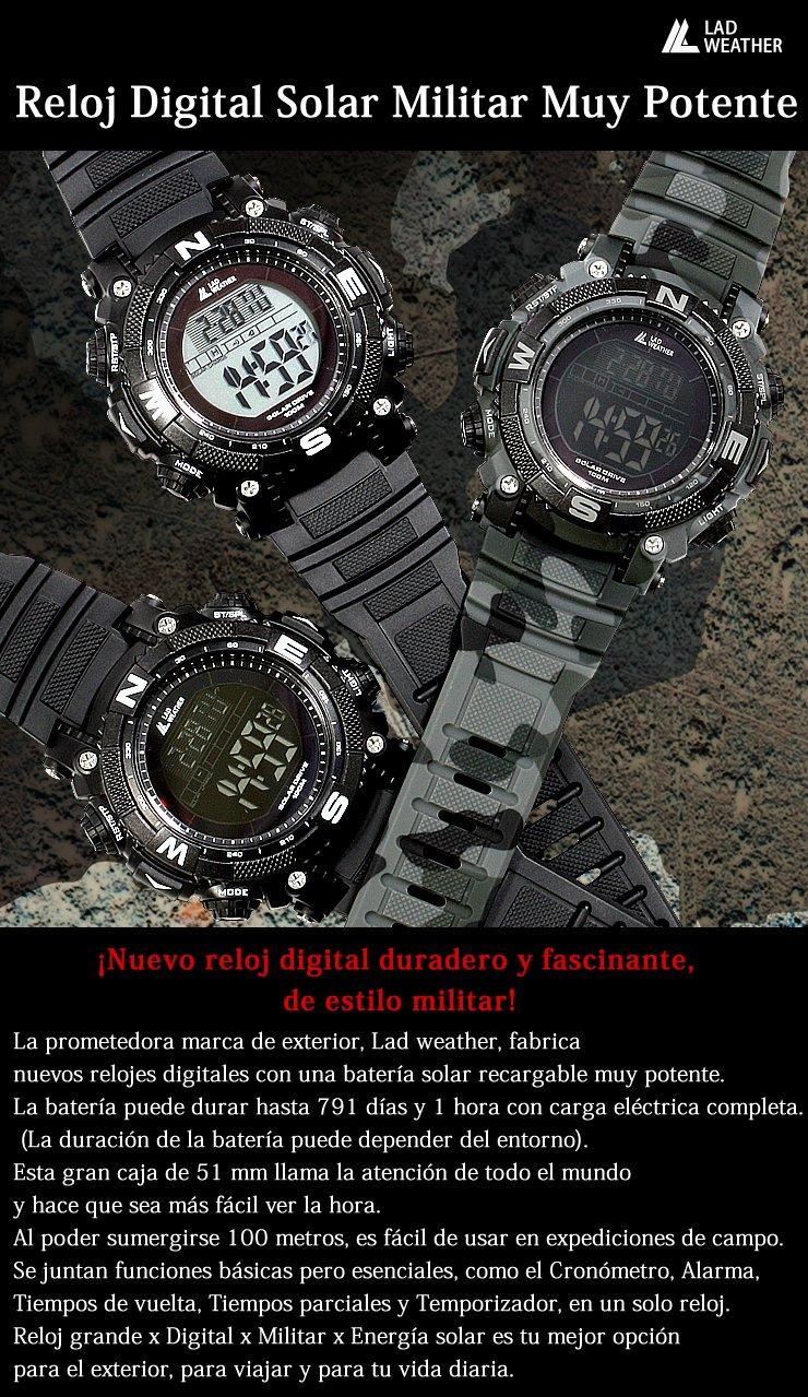 Digital Lad UhrMilitär AkkuSolar LookLeistungsstarker Weather W9YEDHI2