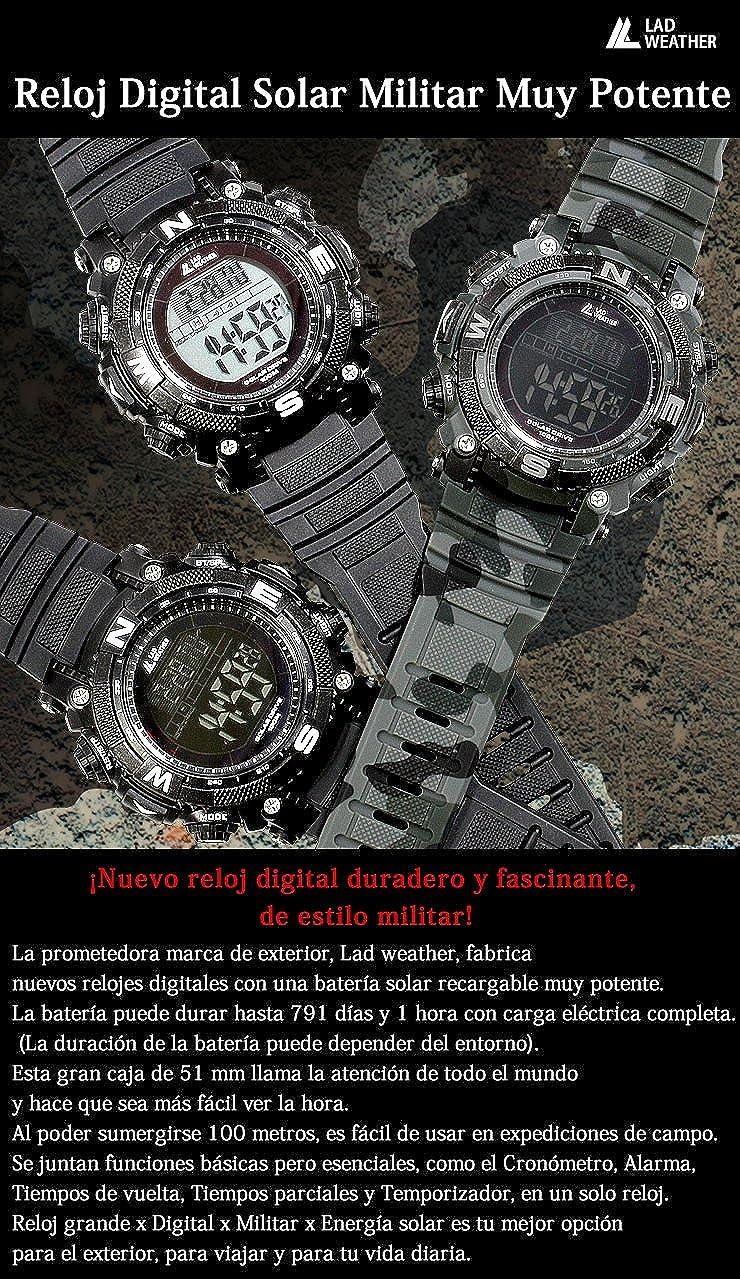 LAD WEATHER Militar Reloj Potente Batería Solar Cronógrafo Deportes al Aire Libre (cmbk): Amazon.es: Relojes