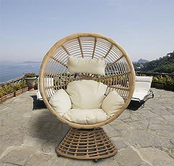Fauteuil lounge fauteuil pivotant Panier Fauteuil en polyrotin ...