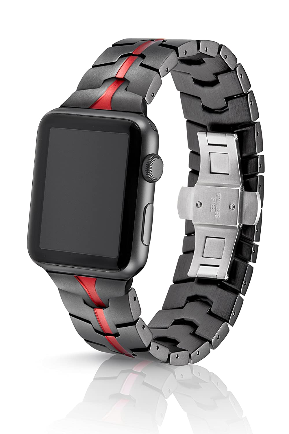 42/44mm JUUK Ruby Grey Vitero Premium Watch Band Made for The Apple Watch, Using Aircraft Grade, Hard Anodized 6000 Series Aluminum with a Solid Stainless Steel Butterfly deployant Buckle (Matte)