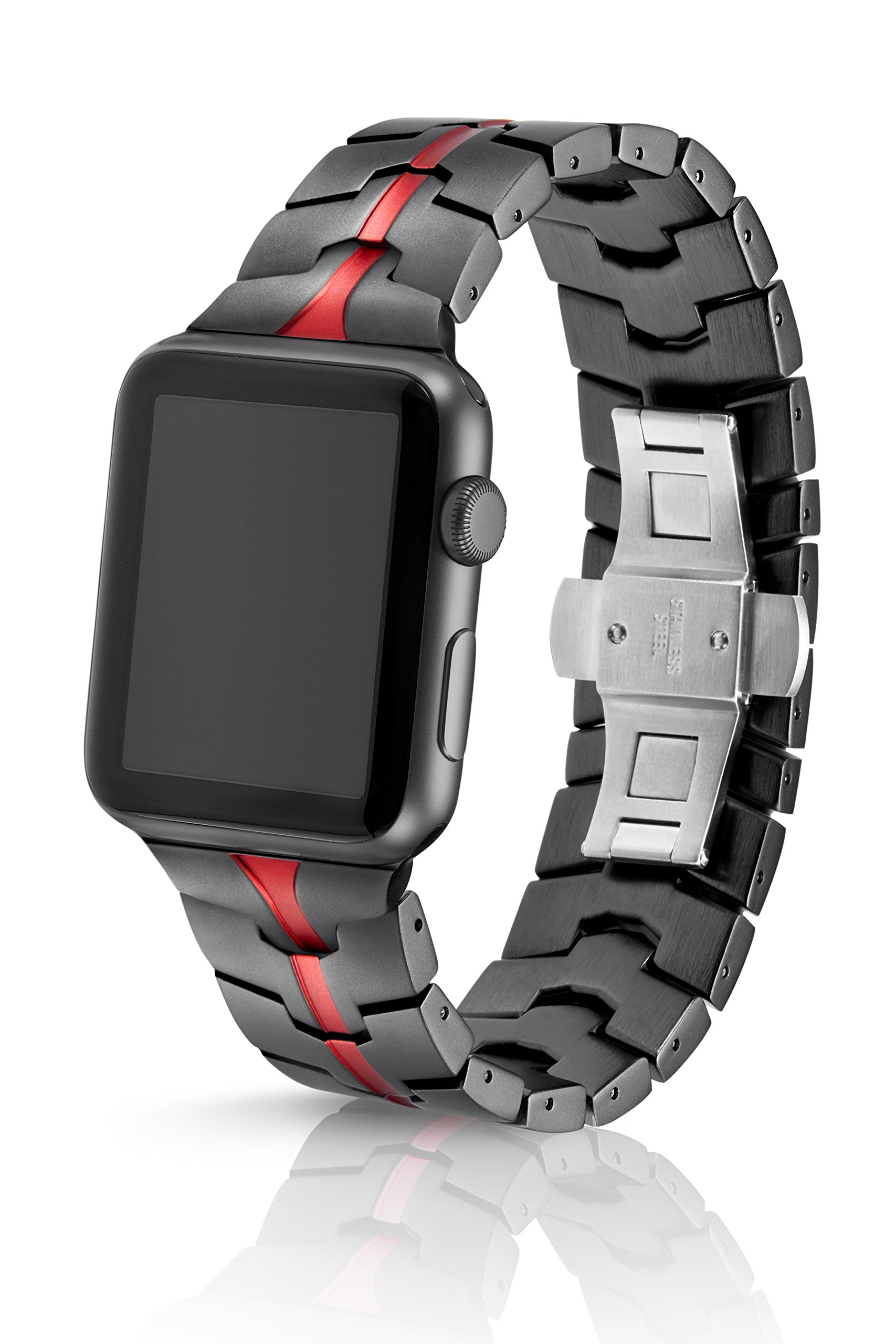 42mm JUUK Ruby Grey Vitero Premium Apple Watch band, made with Swiss quality using aircraft grade hard anodized 6000 series aluminum with a solid stainless steel butterfly deployant buckle (Grey Red)
