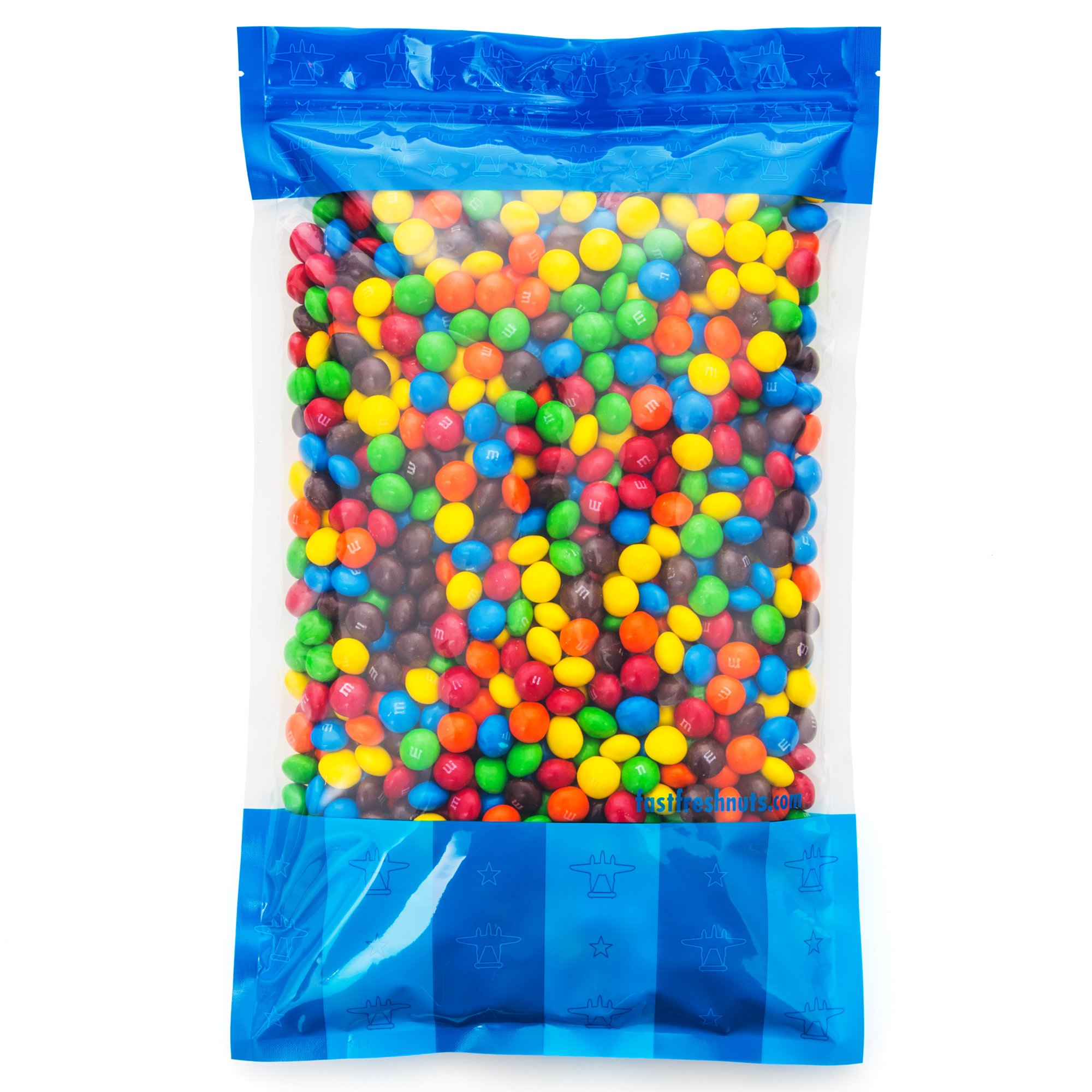 Bulk M&M's Plain Milk Chocolate in a Bomber® Bag - 5 lbs - Fresh, Tasty Treats - Resealable Bag by Fast Fresh Nuts (Image #1)
