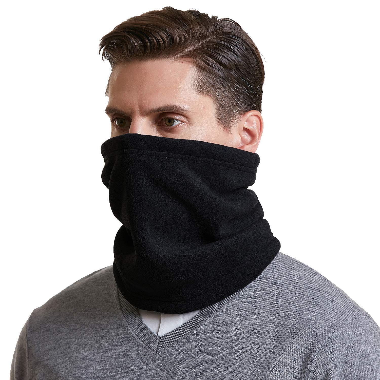 MENS WINTER ADJUSTABLE NECK WARMER SNOOD SCARF WITH WARM SOFT FLEECE LINING