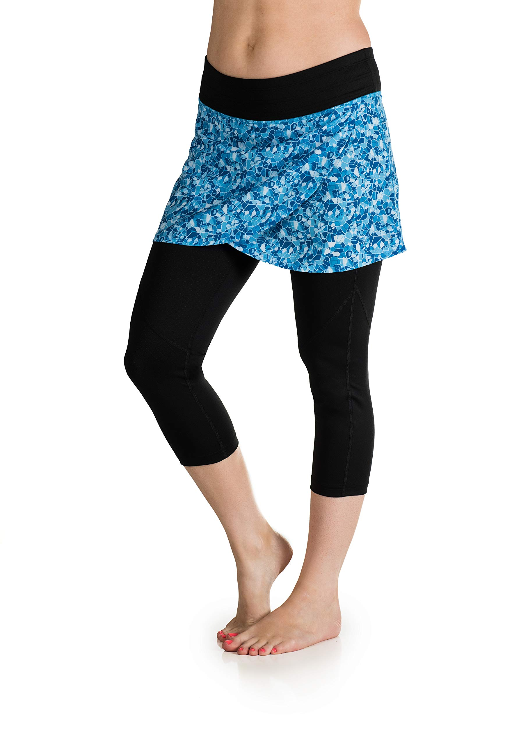 Skirt Sports Women's Hover Capri Skirt, X-Large, Shatter Print/Black by Skirt Sports