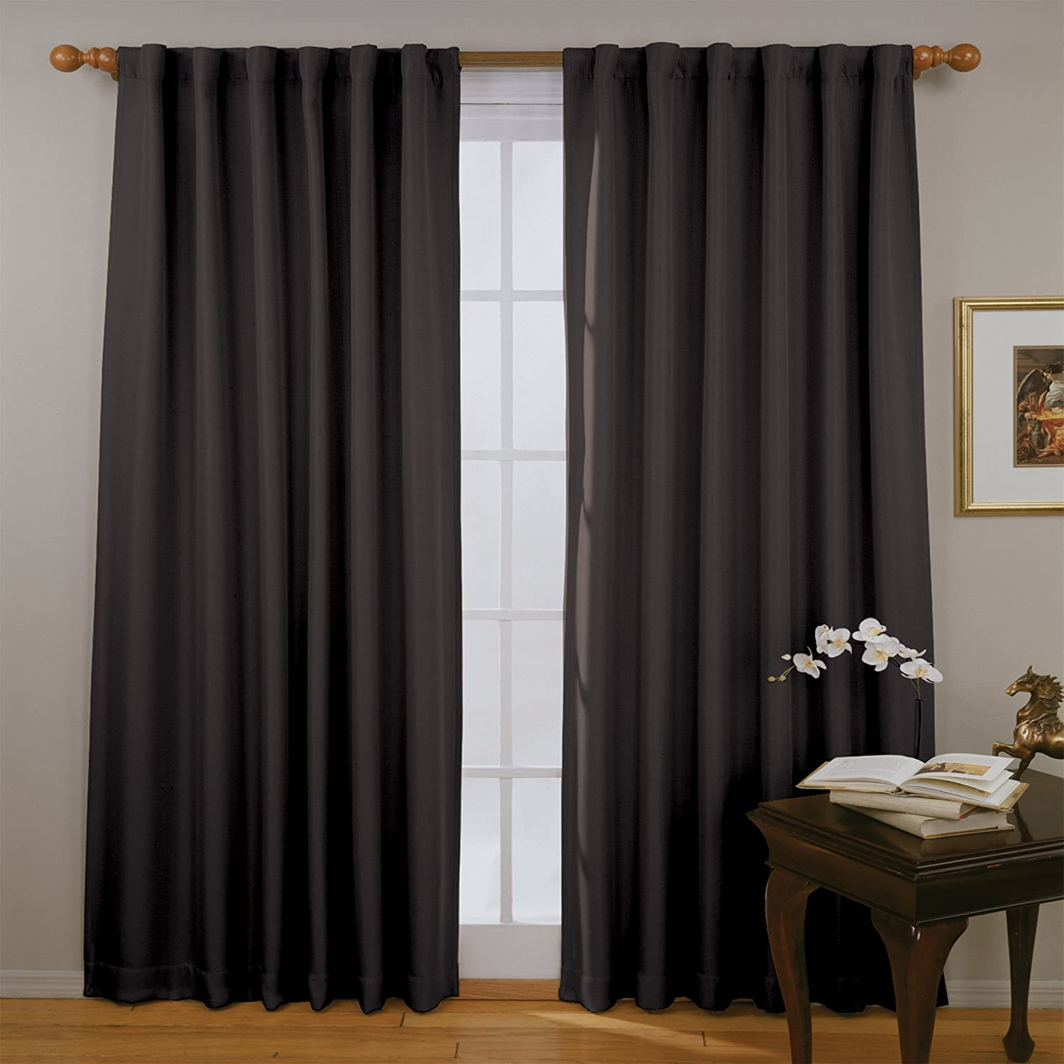ECLIPSE Fresno Thermal Insulated Single Panel Rod Pocket Darkening Curtains for Living Room