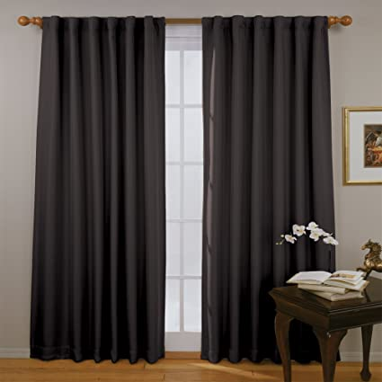 ECLIPSE Fresno Thermal Insulated Single Panel Rod Pocket Darkening Curtains  for Living Room, 52\