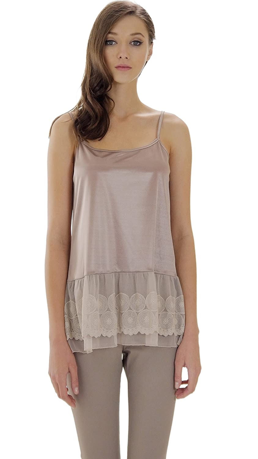 Melody Shop Lev Womens Satin Top Extender Camisole Slip with Circle Lace On The Bottom