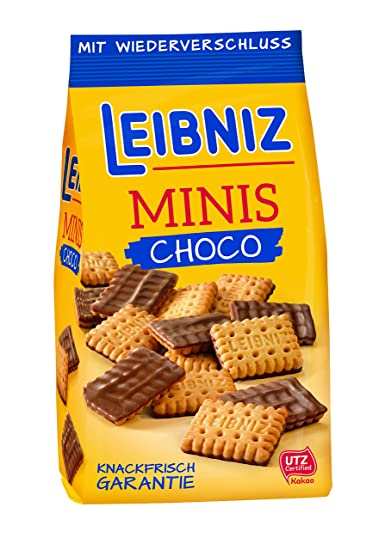 Leibniz - Crujientes galletas en chocolate con leche - bolsa 125 g - Pack de 8