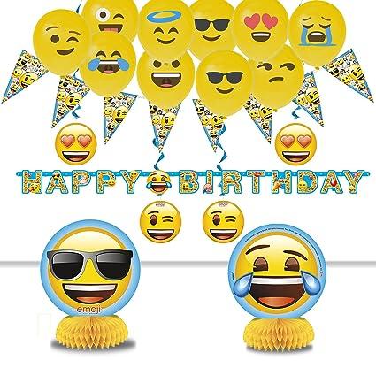 Amazon.com: Emoji decoraciones fiesta de cumpleaños – Feliz ...