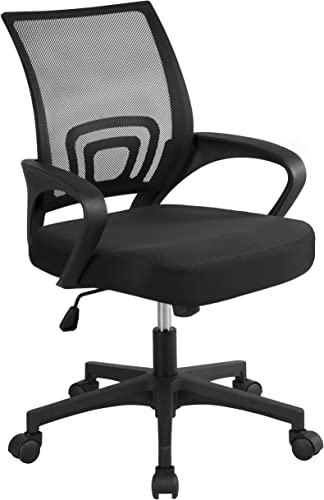 YAHEETECH Office Chair Ergonomic Computer Chair Mid Back Mesh Desk Chair Lumbar Support Modern Executive Adjustable Stool Rolling Swivel Chair