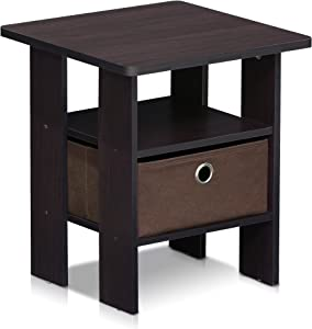 Furinno 11157DWN End Table Bedroom Night Stand w/Bin Drawer, 1-Pack, Dark Walnut