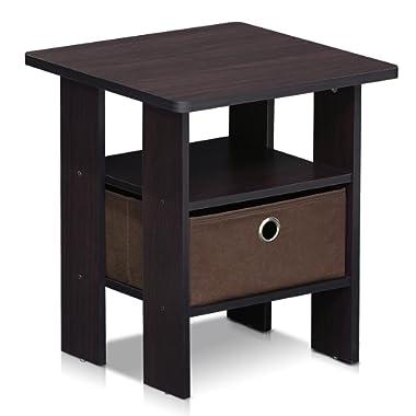 Furinno 11157DWN End Table Bedroom Night Stand w/Bin Drawer, 1, Dark Walnut