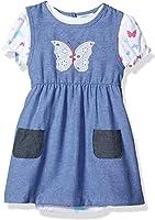BON BEBE Baby Girls' 2 Pc Chambray Dress Set with Lap Shoulder S/s Bodysuit