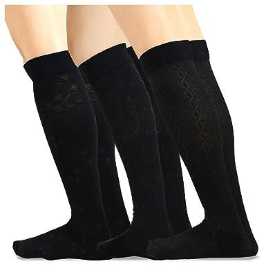 5ad06a3f314 Amazon.com  TeeHee Cotton Fashion Compression Knee High Socks 3-Pack ...
