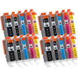 20 Cartouches d'Encre avec Puce compatible avec Canon PGI-550 / CLI-551 (4x Noir-Grande, 4x Noir-Petite, 4x Cyan, 4x Magenta, 4x Jaune)