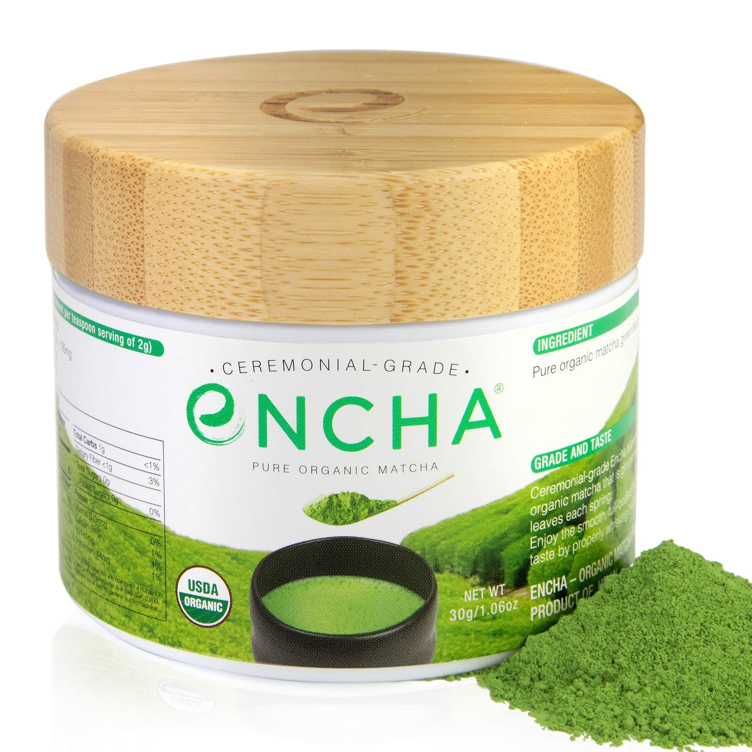 Encha Ceremonial Organic Matcha in Reusable Glass Jar (USDA Organic Certificate and Antioxidant Content Listed, Premium First Harvest Directly from Farm in Uji, Japan, 30g/1.06oz in Glass Jar)