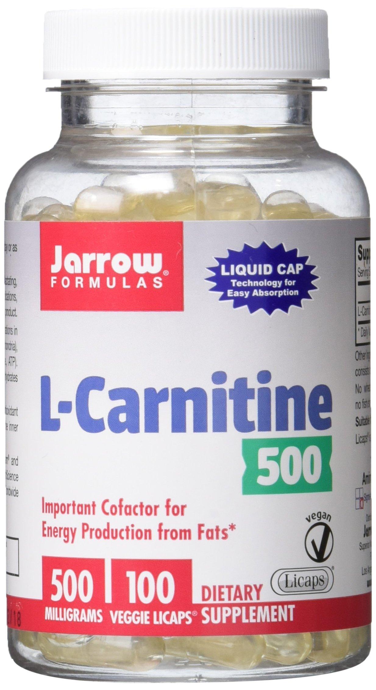 Jarrow Formulas L-Carnitine, Supports Enery, Cardiovascular Health, 500 mg, 100 Veggie Licaps by Jarrow