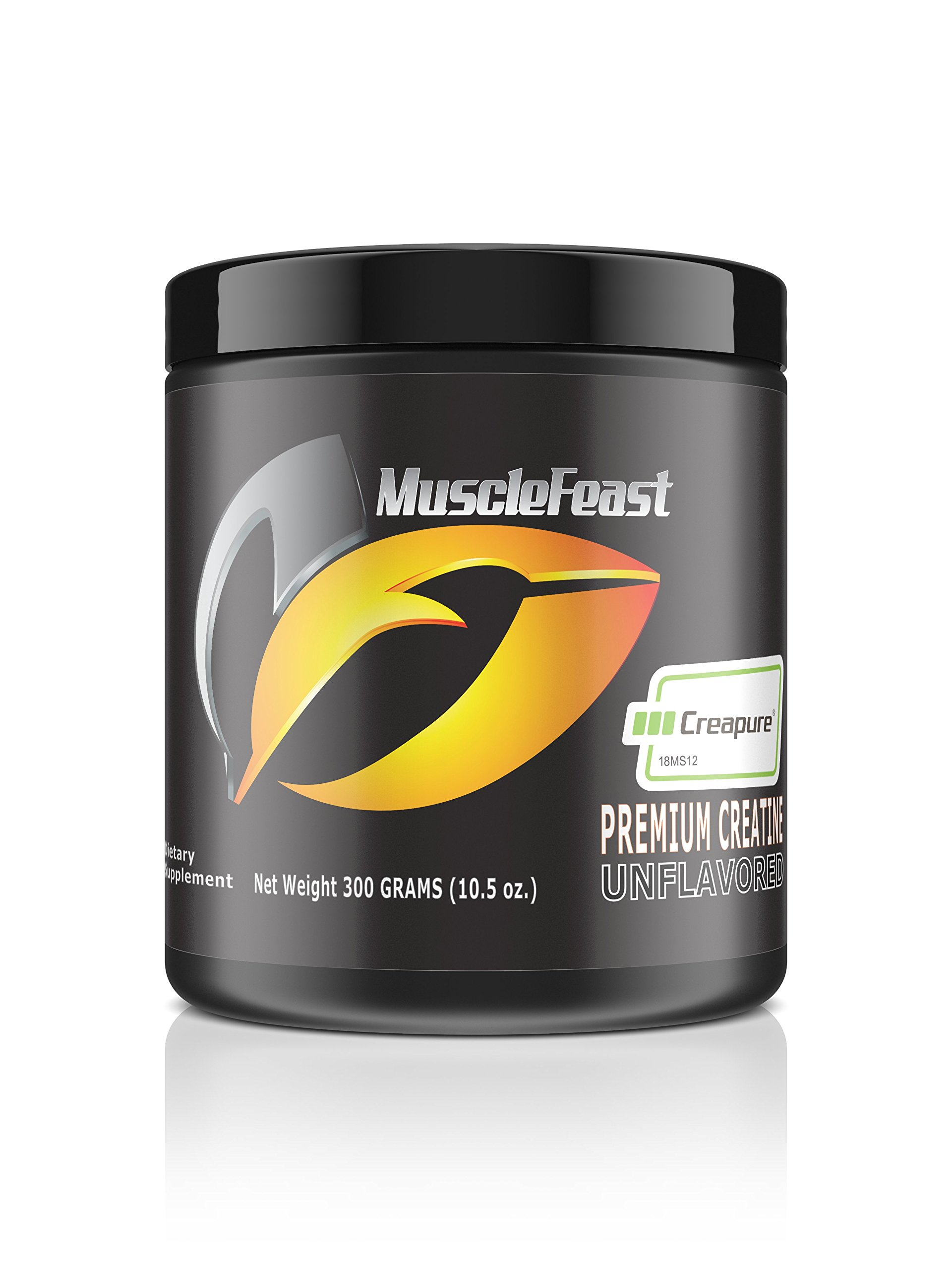 Creapure Creatine Monohydrate Powder - by Muscle Feast   Premium Pre-workout or Post-workout   Easy to Mix And Gluten-Free (300g, Unflavored)