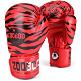 Flexzion Training Boxing Gloves Grappling UFC Sparring Fight Punch Ultimate Sandbag Heavy Bag Mitts Sports Fitness Exercise Equipment in Tiger Pattern Red for Adult Men Women