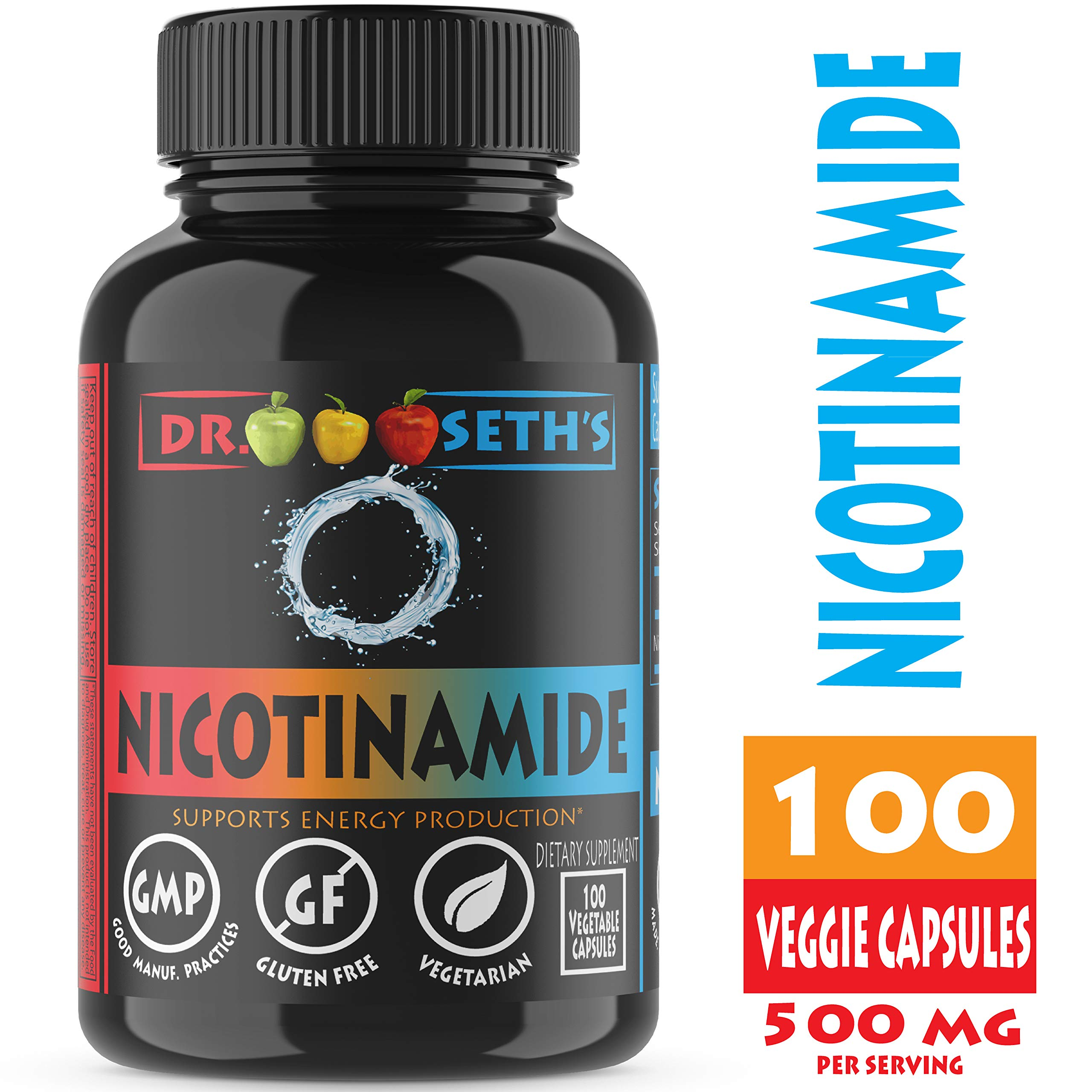Nicotinamide 500 mg 100 Niacinamide Veggie Capsules - Vitamin B3 - Flush Free Niacin Formula - Support Energy Production, Metabolism, Niacinimide - Gluten Free - Vegetarian - Non GMO-GMP- by Dr. Seth