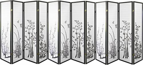 HONGVILLE Shoji Paper Screen Design Privacy Room Divider, 12 Panel, Floral