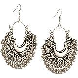 Zephyrr Fashion Oxidized Ethnic Silver/Golden Beaded Chandbali Dangle & Drop Earrings For Women and Girls