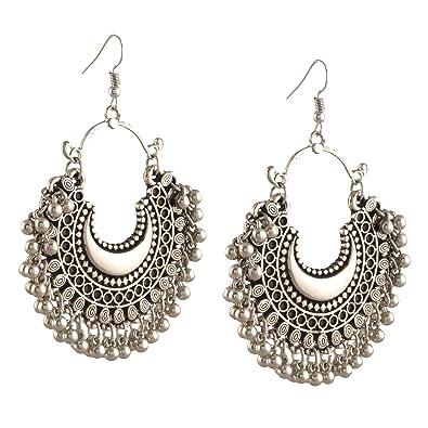 1af612375 Amazon.com: Zephyrr Fashion Oxidized Ethnic Silver Beaded Chandbali Earrings  Women: Jewelry