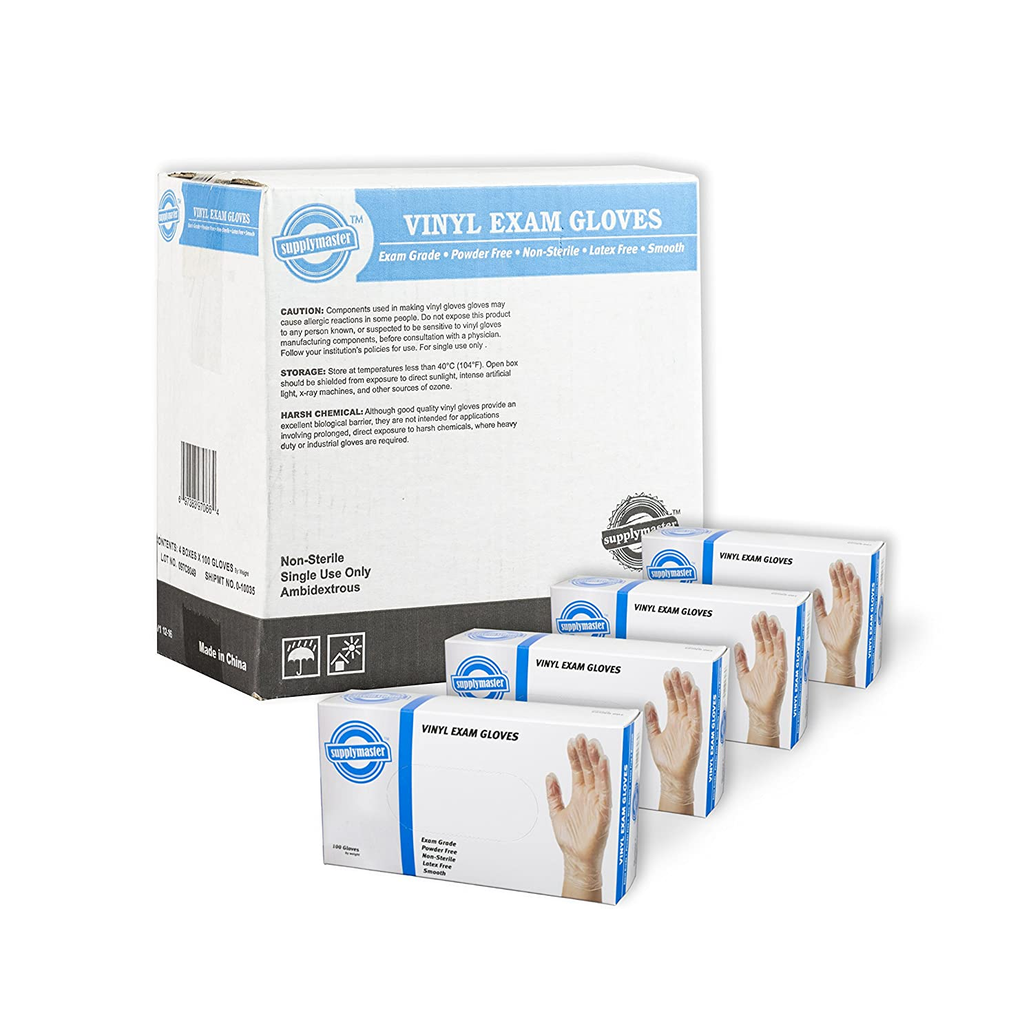 SupplyMaster SMCVE4L Vinyl Exam Disposable Gloves - 4 Mil, Powder Free, Non-Sterile, Latex Free, Smooth, Ambidextrous, Large, Case of 400