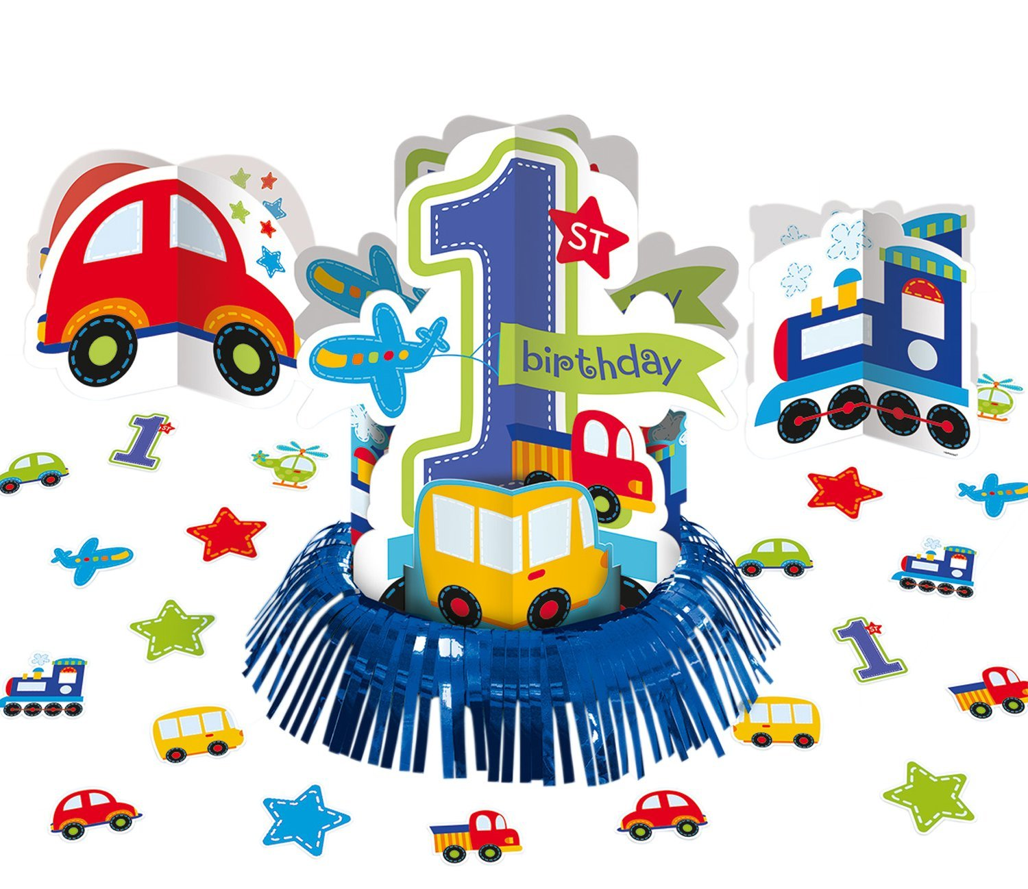 All Aboard! Birthday Party Assorted Table Decorating Kit, Multi Colored, Paper, Assorted sizes, 23-Piece